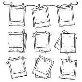 Hand drawn vintage photo frame doodle set