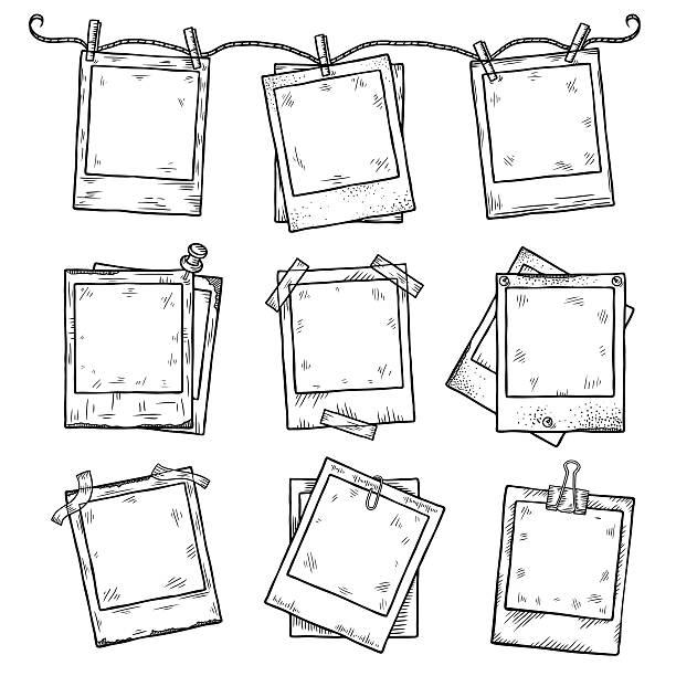 ilustraciones, imágenes clip art, dibujos animados e iconos de stock de marcos de fotos vintage dibujados a mano doodle conjunto - marcos de garabatos y dibujados a mano