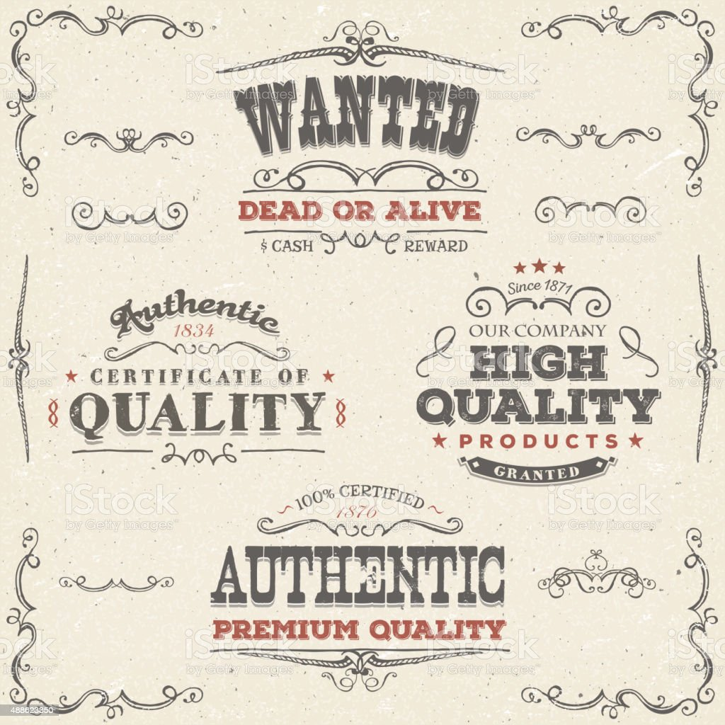 Hand Drawn Vintage Quality Banners And Labels vector art illustration
