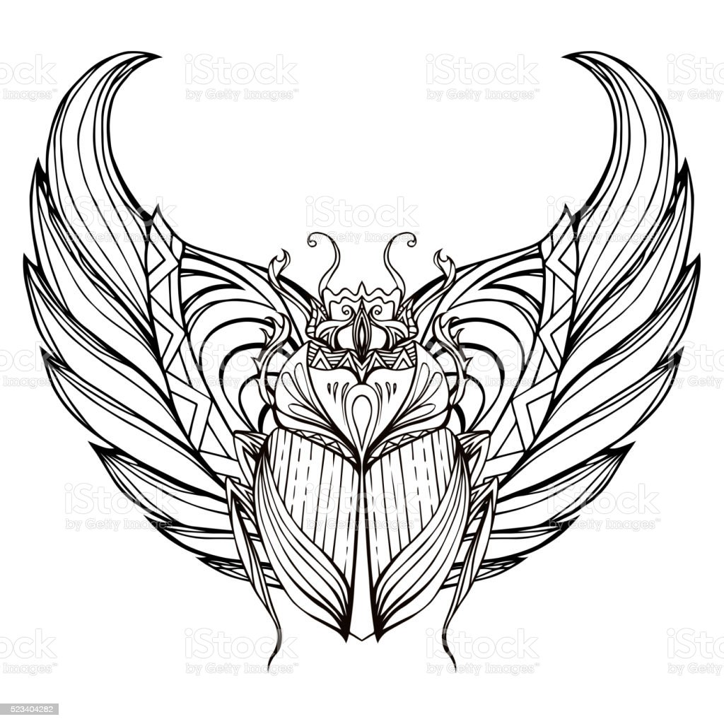 Hand drawn vintage scarab with wings. Insect with doodle pattern vector art illustration