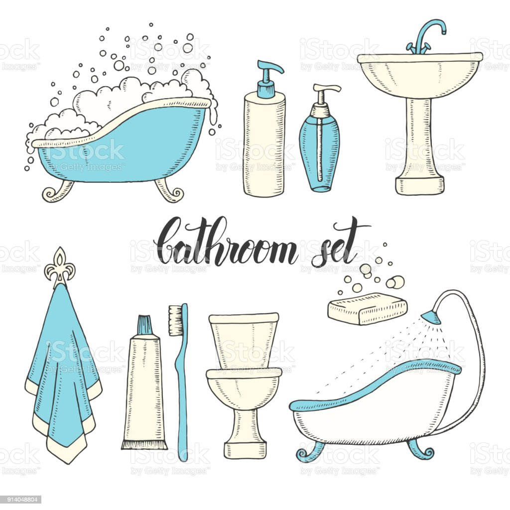 Hand Drawn Vintage Set Of Objects From The Bathroom