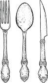 Hand drawn vintage silver cutlery.