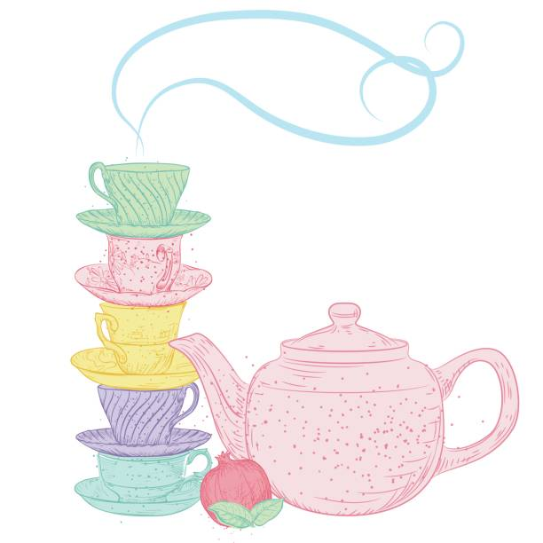hand drawn vintage style tea elements - stacked tea cups stock illustrations, clip art, cartoons, & icons