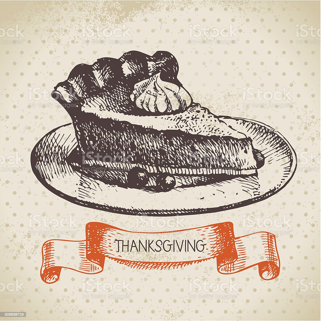 Hand drawn vintage Thanksgiving Day background vector art illustration