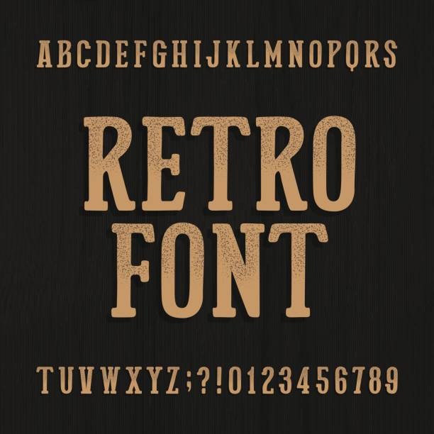 hand gezeichnet vintage schrift. retro-alphabet schriftart. - steampunk stock-grafiken, -clipart, -cartoons und -symbole