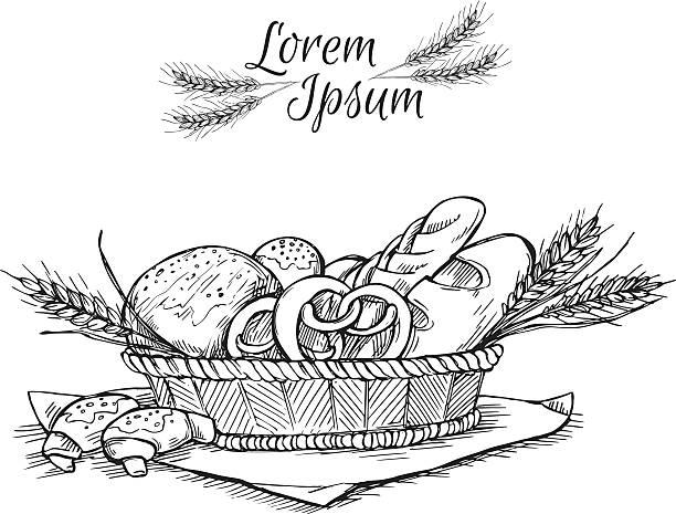 hand drawn vintage vektor-illustration-bäckerei. - brotzopf stock-grafiken, -clipart, -cartoons und -symbole