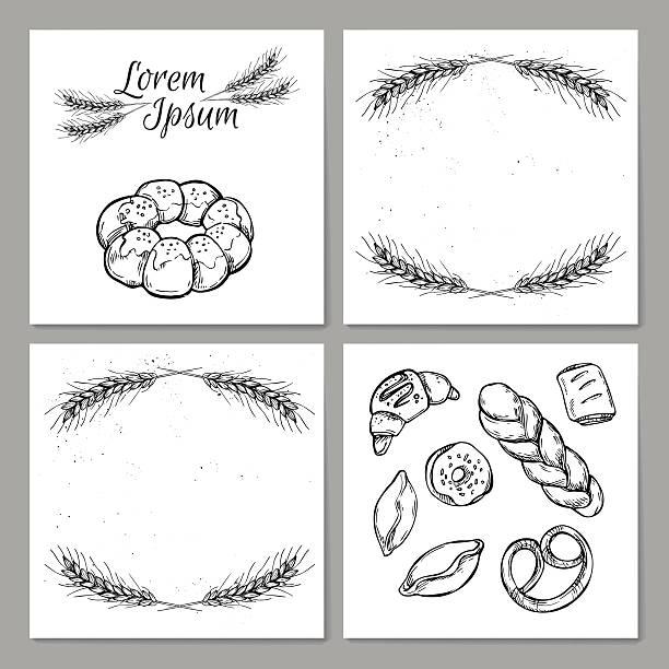 hand drawn vintage vektor-illustration-vorlage für bäckerei - brotzopf stock-grafiken, -clipart, -cartoons und -symbole