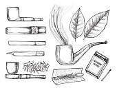 Hand drawn vintage vector illustration - tobacco collection. Design elements in sketch style ( joint, tobacco pipe, tobacco, cigarette, cigar, hand-rolled cigarette)