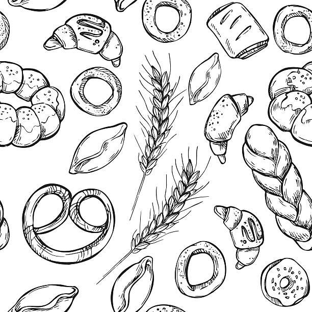 hand drawn vintage vektor nahtlose muster-bäckerei. - brotzopf stock-grafiken, -clipart, -cartoons und -symbole