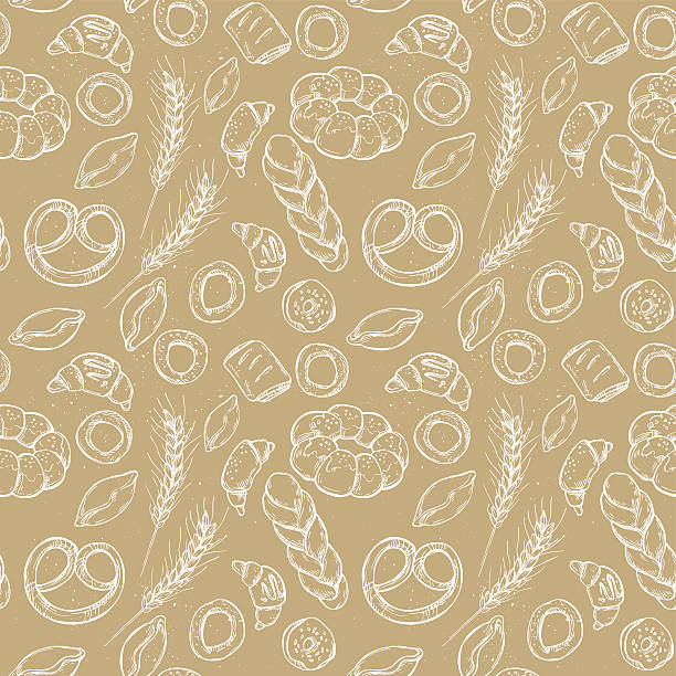 Hand drawn vintage vector seamless pattern - Bakery shop. Hand drawn vintage vector seamless pattern - Bakery shop. Grocery store. Organic food. bread backgrounds stock illustrations