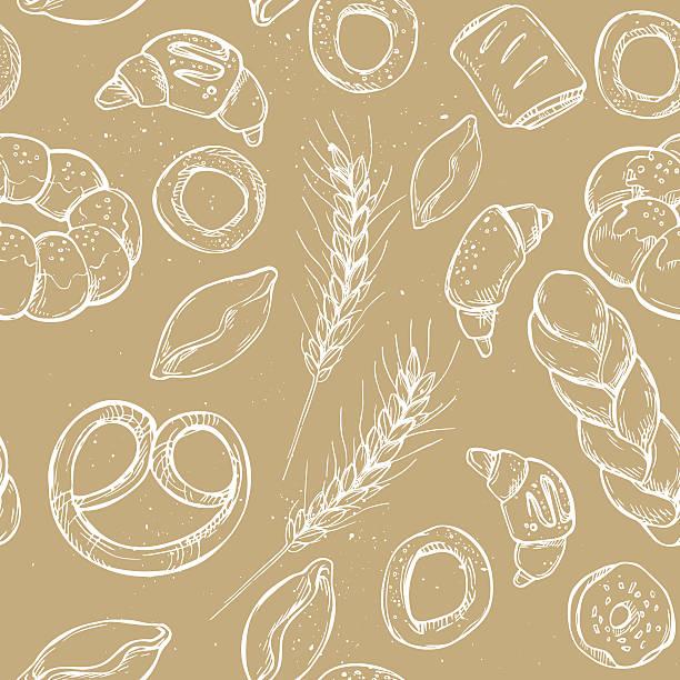 hand drawn vintage vektor nahtlose muster-bäckerei - brotzopf stock-grafiken, -clipart, -cartoons und -symbole