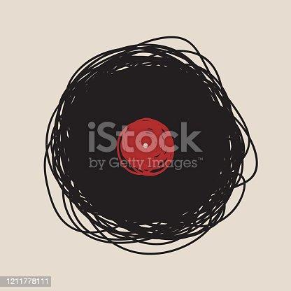 Hand drawn vinyl disc logo concept. Vector eps 10 illustration.