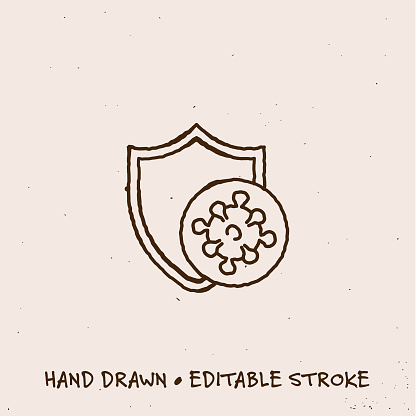 Hand Drawn Virus Protection Line Icon with Editable Stroke