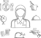 Waiter profession hand drawn icons with waitress in elegant uniform, surrounded by dinner set, champagne and ice bucket, ice cream sundae, fried chicken, cloche and restaurant bill. Sketch vector