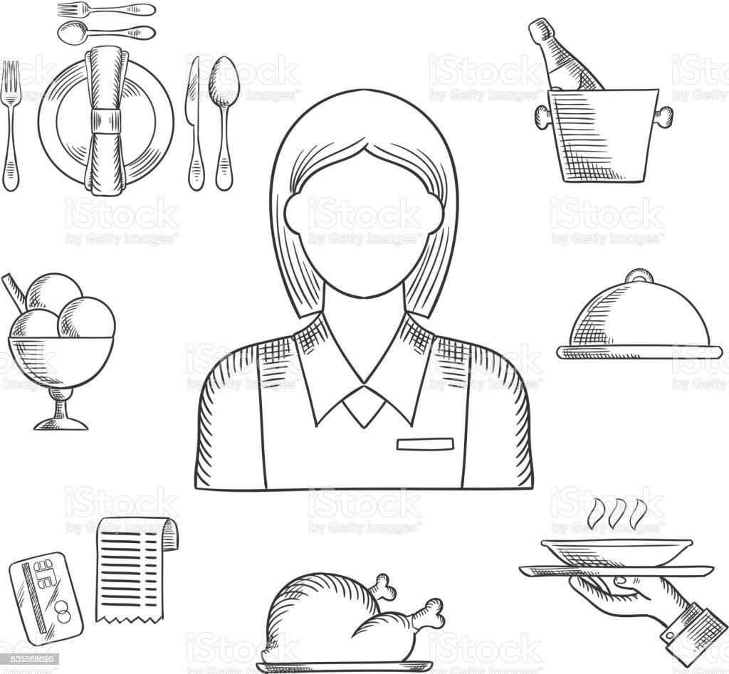 Hand drawn waitress and restaurant items vector art illustration