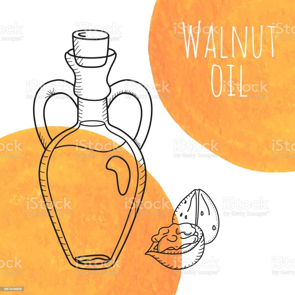 Hand drawn walnut oil bottle with orange watercolor spots vector art illustration