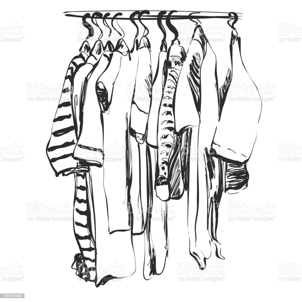 Kleiderschrank gezeichnet  Handskizze Gezeichnete Kleiderschrank Babykleidung Auf Hunger Stock ...