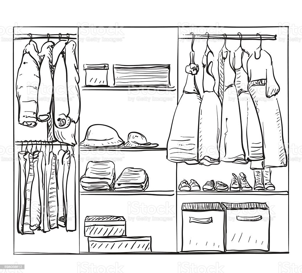 Hand Drawn Wardrobe Sketch. Clothes For Baby Girl Royalty Free Hand Drawn  Wardrobe Sketch