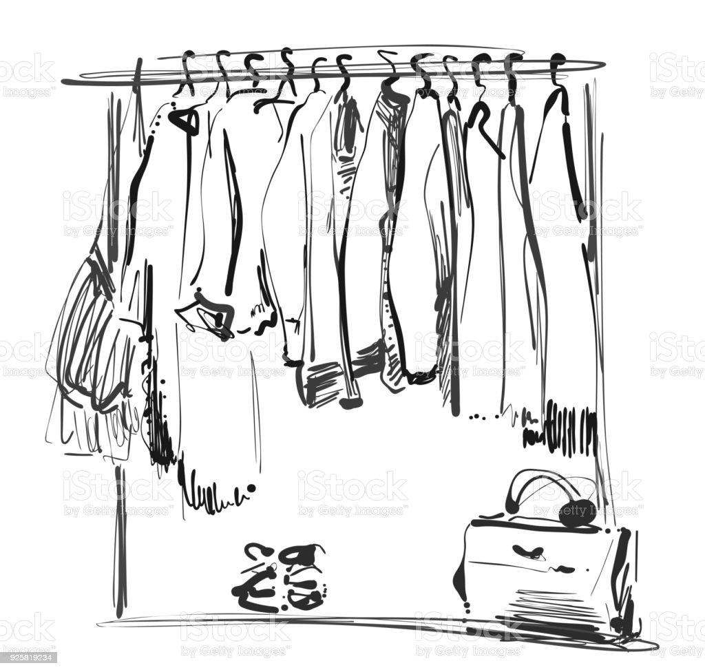 Kleiderschrank gezeichnet  Handskizze Gezeichnete Kleiderschrank Kleidung Des Bügels Stock ...