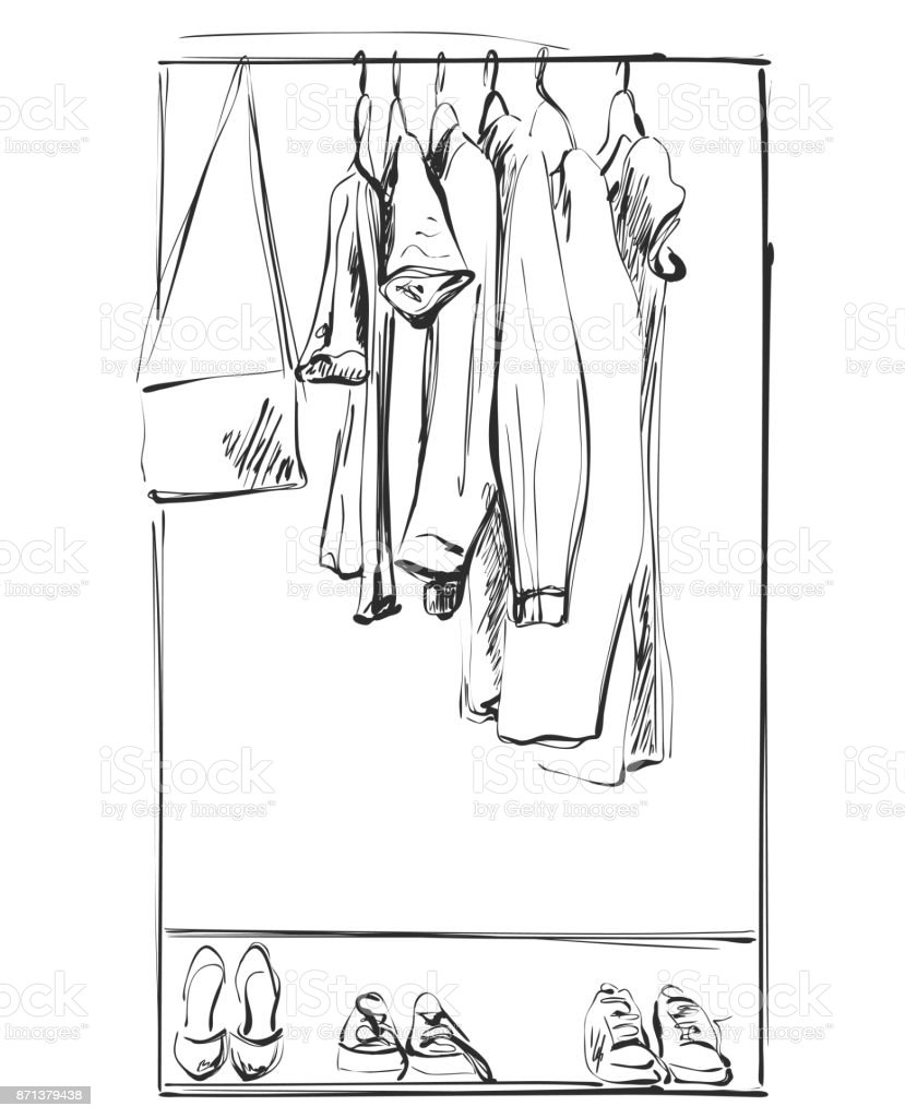 Kleiderschrank gezeichnet  Herbst Kleiderschrank Vektorgrafiken und Illustrationen - iStock