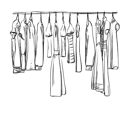 Hand drawn wardrobe sketch. Clothes.