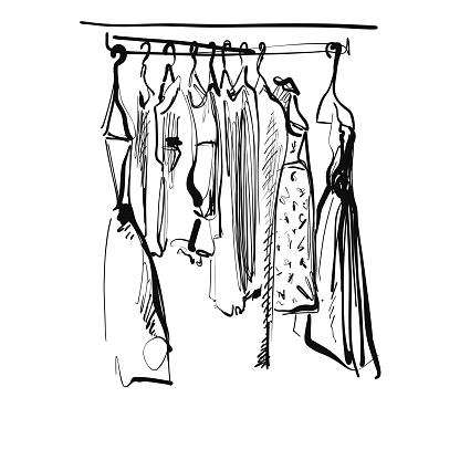 Hand drawn wardrobe sketch. Dress on the hunger