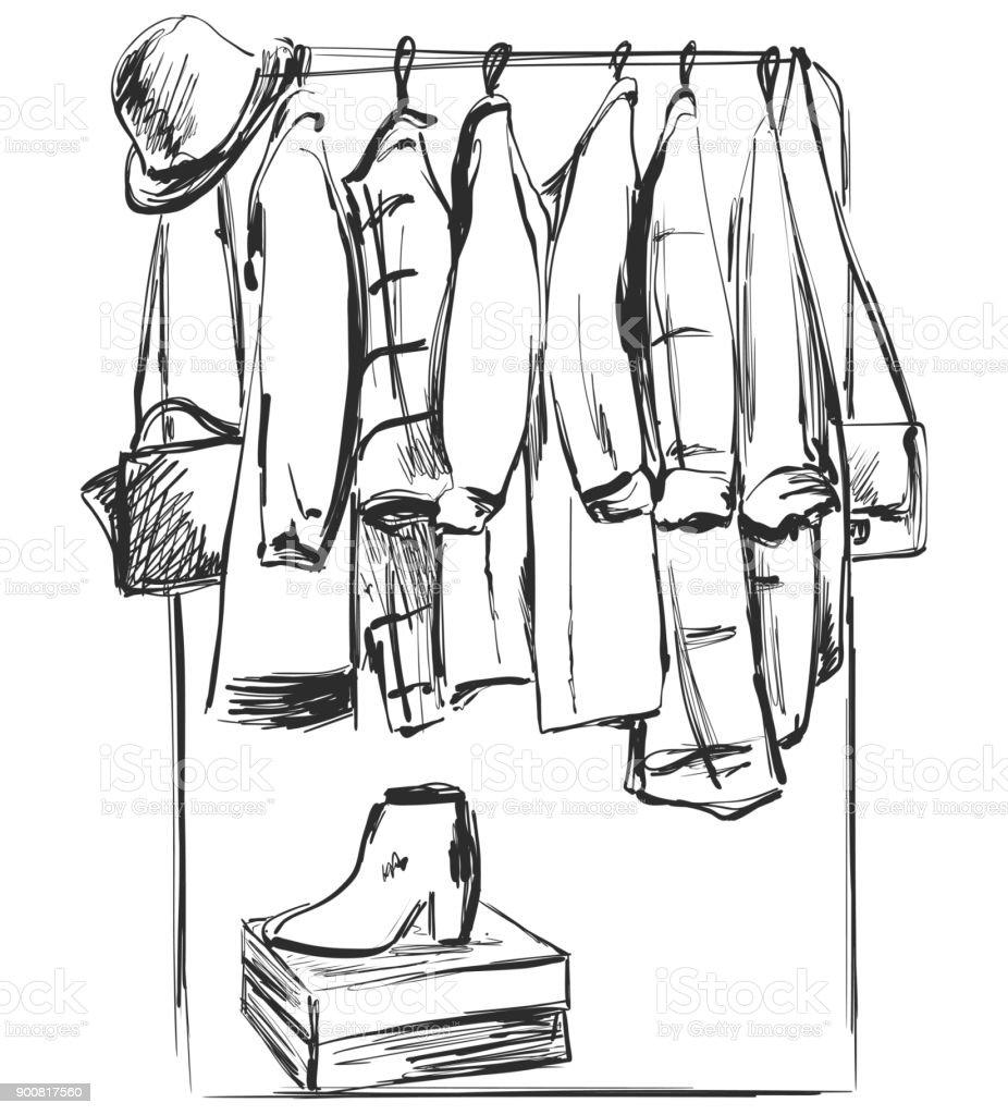 Kleiderschrank gezeichnet  Handskizze Gezeichnete Kleiderschrank Möbel Kleidung Auf Dem ...