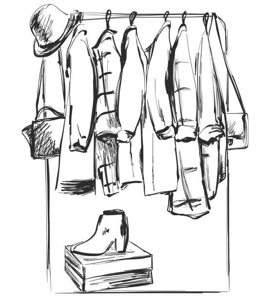 Hand Drawn Wardrobe Sketch Furniture Clothes On The Hanger Vector Art Illustration