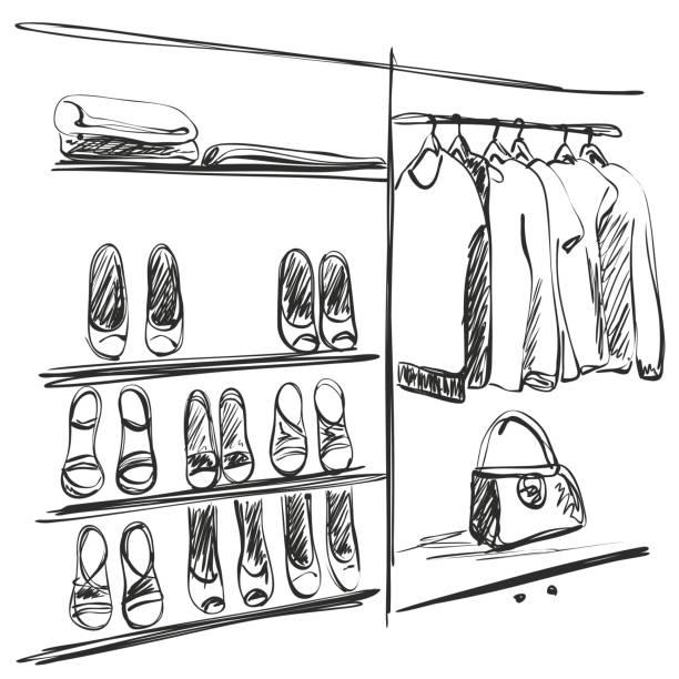 Hand Drawn Wardrobe Sketch Shoes Vector Art Illustration