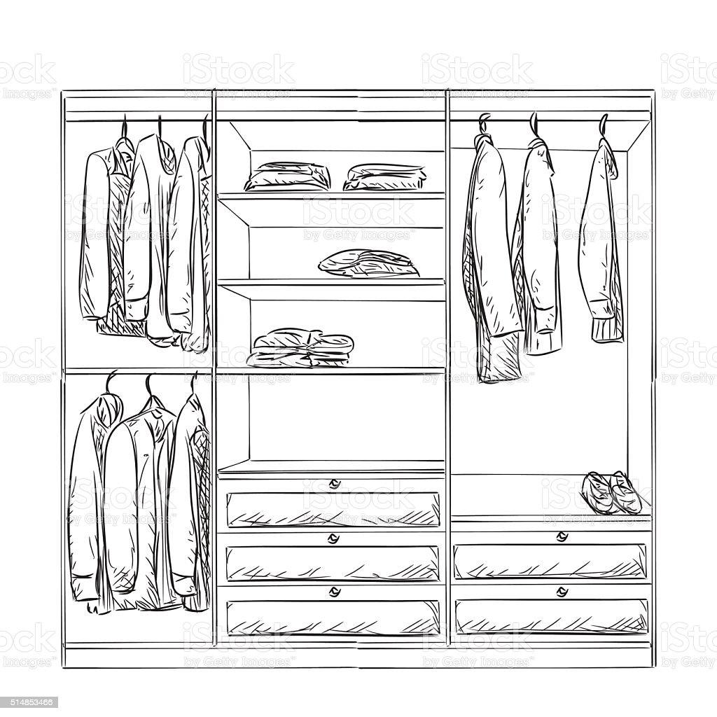 Kleiderschrank gezeichnet  Handgezeichnet Garderobe Skizze Stock Vektor Art und mehr Bilder von ...
