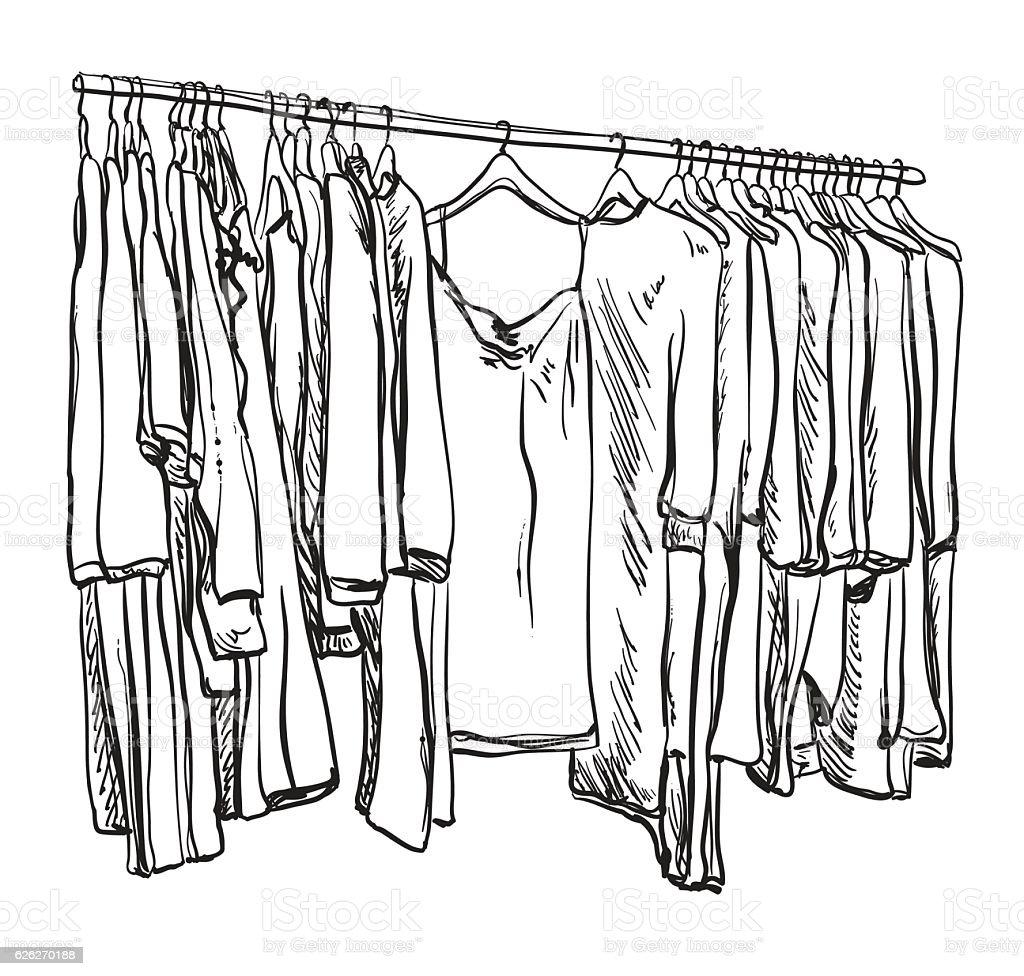 Hand Drawn Sketch Kleiderschrank Stock Vektor Art und mehr Bilder ...