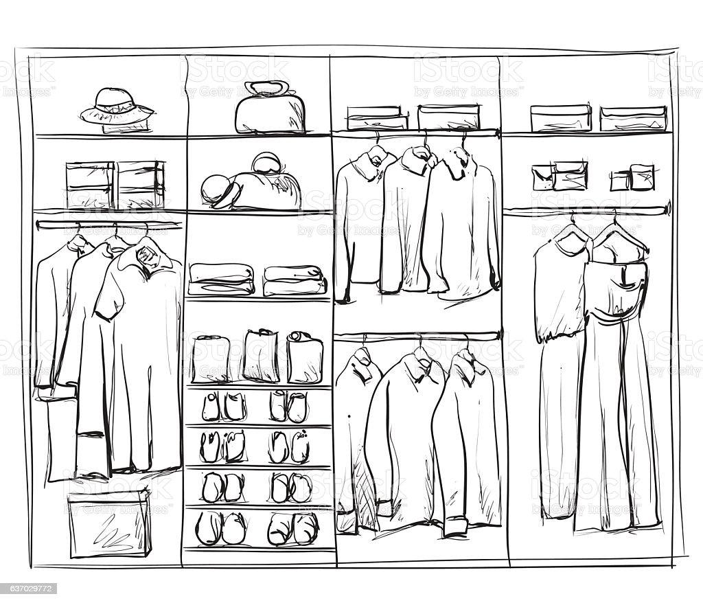 Elegant Hand Drawn Wardrobe Sketch. Royalty Free Hand Drawn Wardrobe Sketch Stock  Vector Art U0026amp