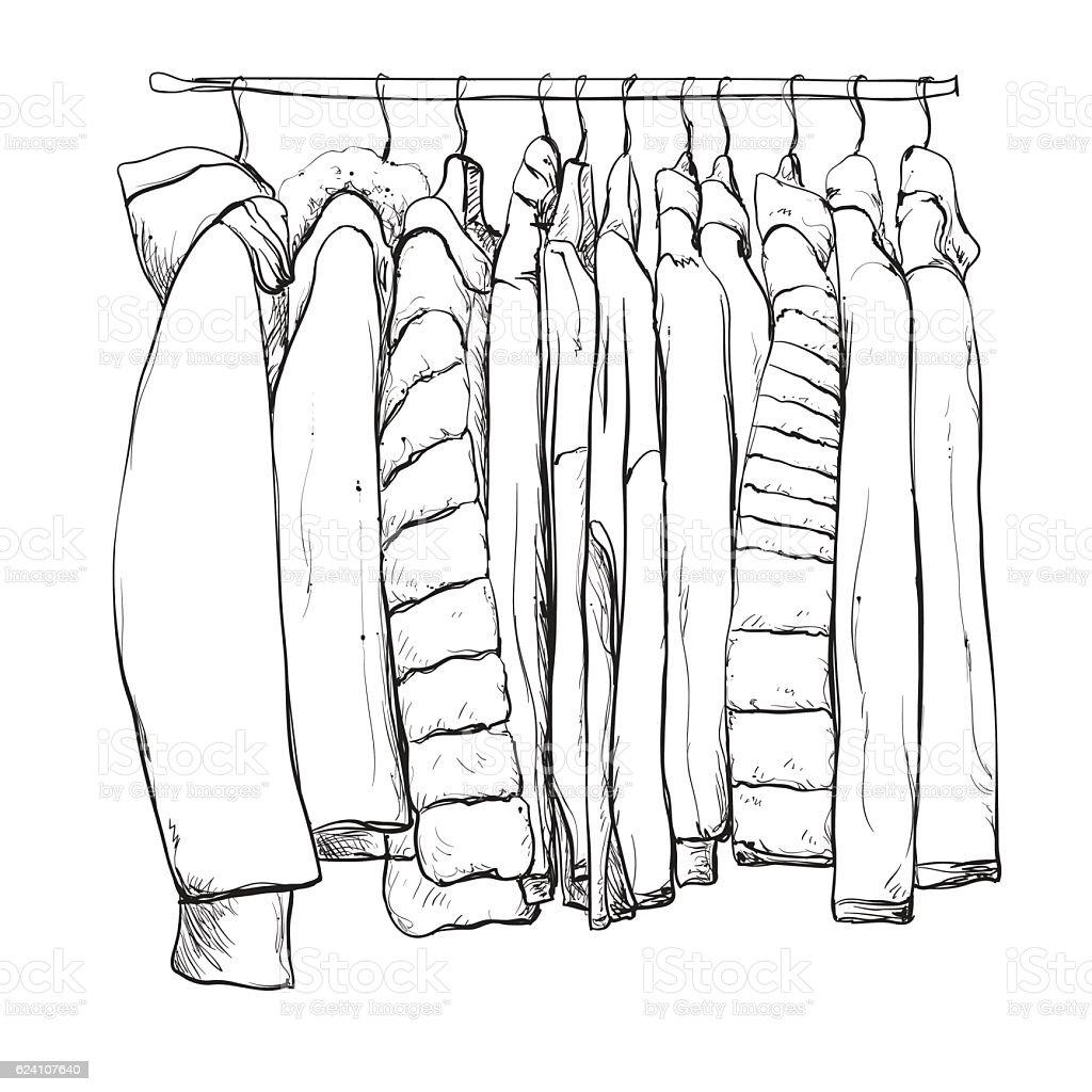 Hand Drawn Wardrobe Sketch. Warm Clothes. Royalty Free Hand Drawn Wardrobe  Sketch Warm