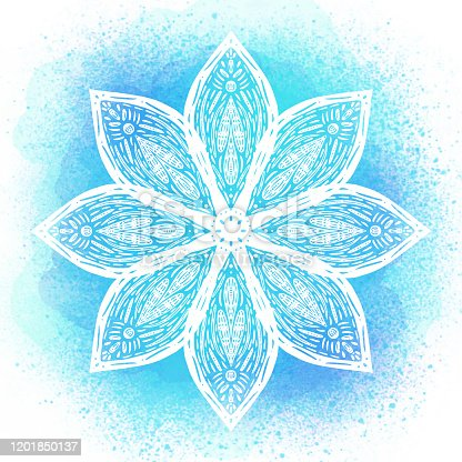 istock Hand Drawn Water Lily Lotus Mandala with Blue Watercolor Background. Henna, Mehndi Tattoo  Decoration. Decorative ornament in ethnic oriental style. 1201850137