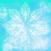 istock Hand Drawn Water Lily Lotus Mandala with Blue Watercolor Background. Henna, Mehndi Tattoo  Decoration. Decorative ornament in ethnic oriental style. 1201851452