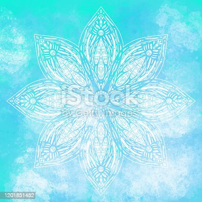 Hand Drawn Water Lily Lotus Mandala with Blue Watercolor Background. Henna, Mehndi Tattoo  Decoration. Decorative ornament in ethnic oriental style.