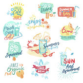 Hand drawn watercolor badges of fresh fruit juice and drinks