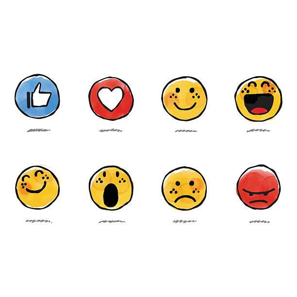Hand drawn watercolor basic emojis Vector illustration of a set of hand drawn watercolor painted basic emojis love emotion stock illustrations