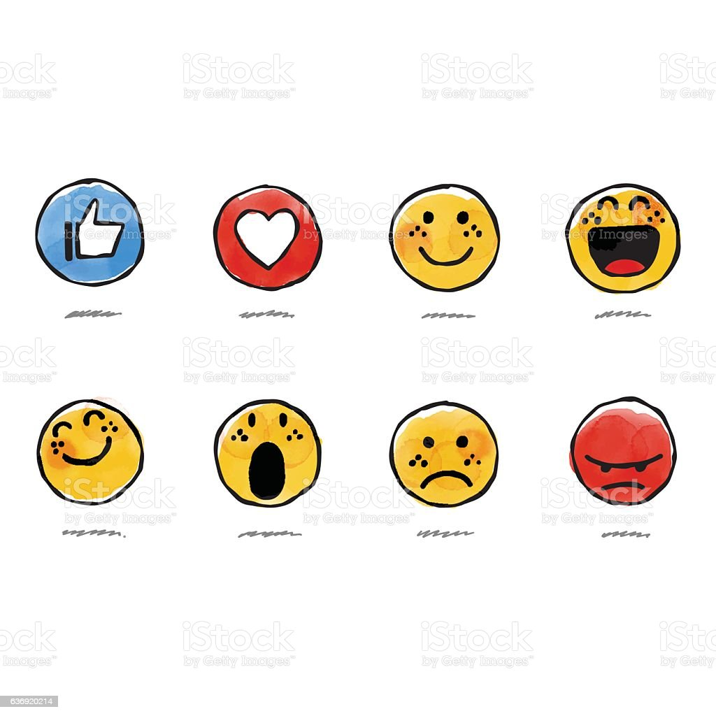 Hand drawn watercolor basic emojis vector art illustration