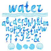 Hand drawn watercolor blue alphabet