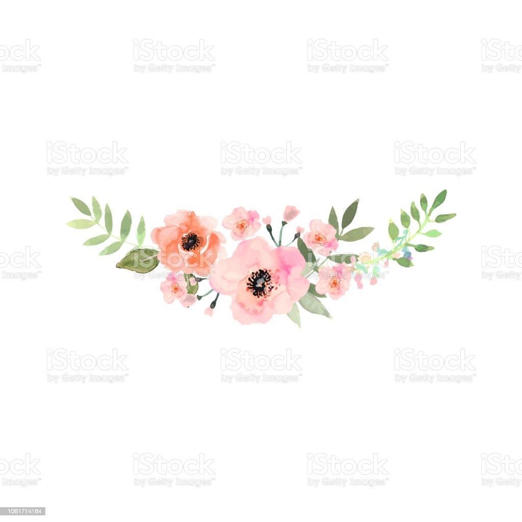 Bouquet aquarelle dessiné à la main. Conception de carte, invitation. - clipart vectoriel de Aquarelle libre de droits