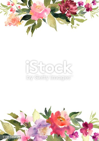 Hand drawn watercolor bouquet on white background. Beautiful gentle flowers in the composition. Roses. Design for card, invitation. Vector