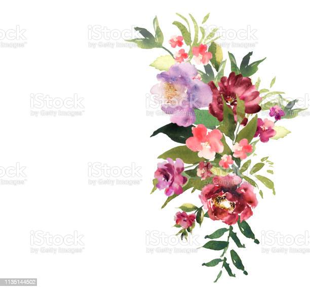 Hand drawn watercolor bouquet on white background beautiful gentle vector id1135144502?b=1&k=6&m=1135144502&s=612x612&h=r8bapkndoga2iog98fnxqu182afv7w8uaam navbvxi=
