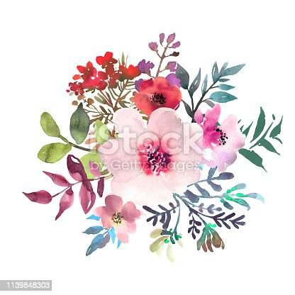 istock Hand drawn watercolor bouquet on white background. Beautiful gentle flowers in the composition. Roses. Vector 1139848303