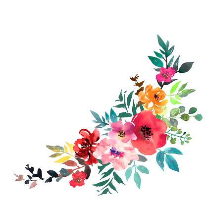 Hand drawn watercolor bouquet on white background. Beautiful gentle flowers in the composition. Roses. Vector