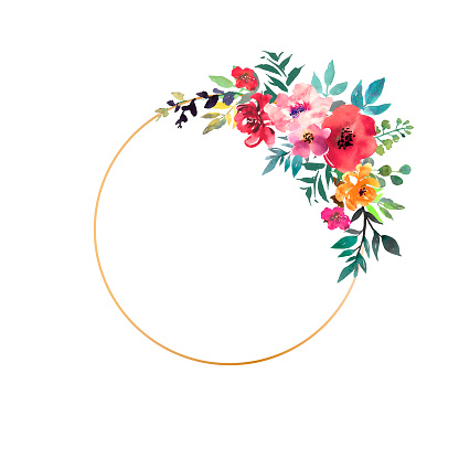 Hand drawn watercolor bouquet with place for your text. Design for card, invitation. Floral arrangement with gold circle frame. Wreath with flowers. Vector