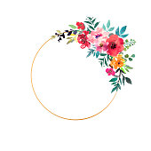 istock Hand drawn watercolor bouquet with place for your text. Design for card, invitation. Floral arrangement with gold circle frame. Wreath with flowers. Vector 1140472301