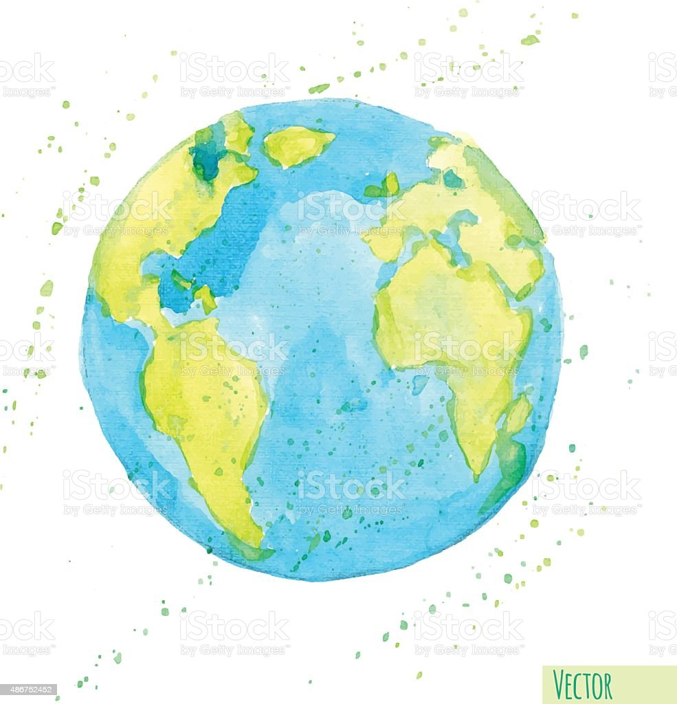 Hand drawn watercolor Earth, isolated vector illustration. vector art illustration