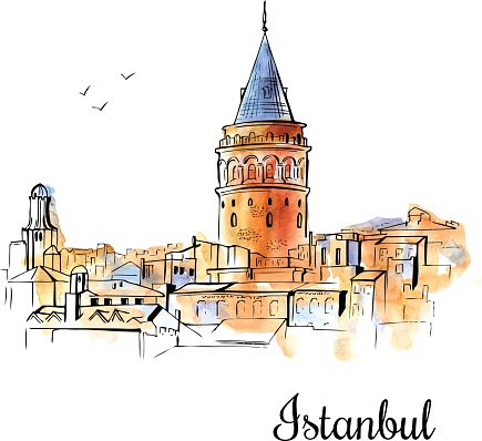 Hand drawn watercolor illustration of Galata Tower in Istanbul.