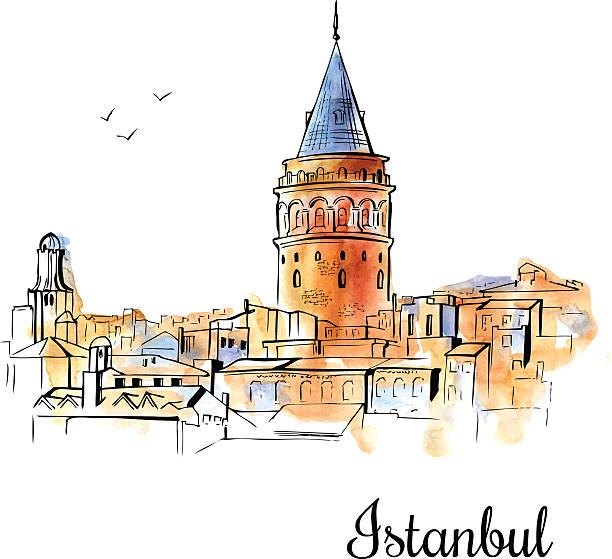 stockillustraties, clipart, cartoons en iconen met hand drawn watercolor illustration of galata tower in istanbul. - turkse cultuur